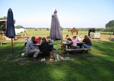 Gezinsweekend tussen de paarden. Ouders en kinderen.